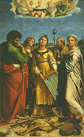 Raffael (Raffaello Sanzio): Die hl. Cäcilia mit den Hl. Paulus Johannes Ev., Augustinus und Magdalena