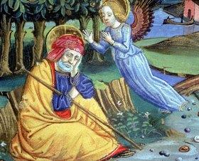 Christoforo De Predis: Josef erfährt von einem Engel, dass Maria schwanger ist