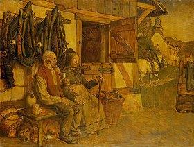 Karl Friedrich (Fritz) Boehle: Feierabend. Bauernpaar vor dem Pferdestall