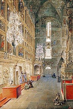 Fjodor Jakowlewitsch Aleksejew: Innenansicht der Maria-Himmelfahrt-Kathedrale im Moskauer Kreml