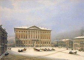 Jules Arnout: Das Haus des Generalgouverneurs in Moskau im Winter. 1840-er Jahre