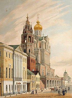 Jules Arnout: Die Maria-Himmelfahrt-Kirche in der Pokrovskaja-Strasse in Moskau. 1840-er Jahre