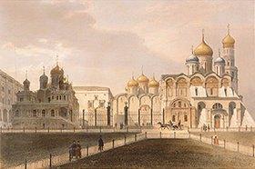 Jules Arnout: Blick auf die Kathedrale im Moskauer Kreml