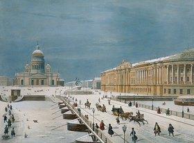 Louis P. Alphonse Bichebois: Die Isaak-Kirche und der Senats-Platz in St. Petersburg. 1840-er Jahre