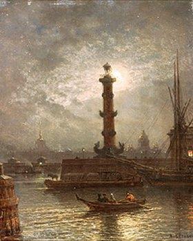 Alexej Petrowitsch Bogoljubov: Mondnacht über der Newa bei der Börse in St. Petersburg.