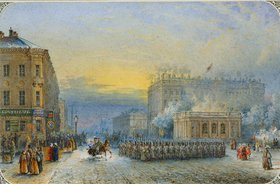 Wassily Sadovnikov: Osterparade am 11. April 1848 auf dem Anichkov-Platz in St. Petersburg