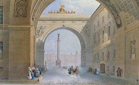 Wassily Sadovnikov: Der Torbogen des Armee-Hauptquartiers in St. Petersburg im Winter. 1830-er Jahre