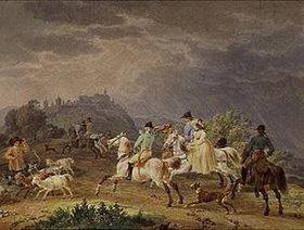 Wilhelm von Kobell: Heimkehr einer Jagdgesellschaft vor einem Gewitter