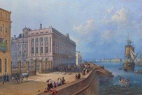 Wassily Sadovnikov: Blick auf das Ufer der Newa und den Marmor-Palast, St.Petersburg