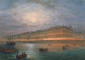 Wassily Sadovnikov: Blick auf den beleuchteten Winterpalast in St. Petersburg