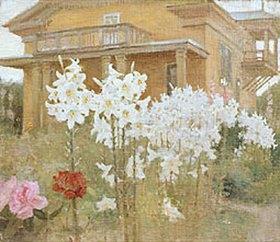 Jakov Kalinschenko: Lilien vor herrschaftlichem Haus am Abend