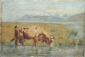 Ferdinand Hodler: Kuh am Seeufer