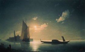 Konstant.Iwan Aiwassowskij: Gondoliere bei hereinbrechender Nacht in Venedig
