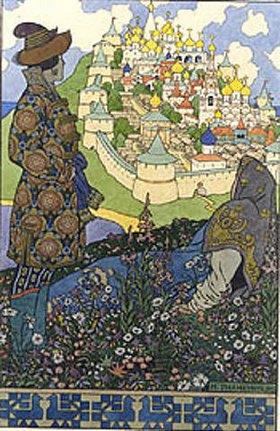 Iwan Bilibin: Illustration zu Puschkins 'Das Märchen des Zaren Saltan'
