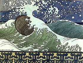 Iwan Bilibin: Illustration zu Puschkin's 'Das Märchen des Zaren Saltan'