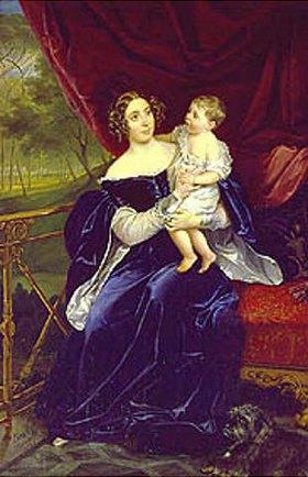 Karl Brüllow: Die Fürstin O. Orloff-Davidoff mit ihrer Tochter