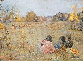 Isaak Brodskij: Kindergespräche in herbstlicher Landschaft