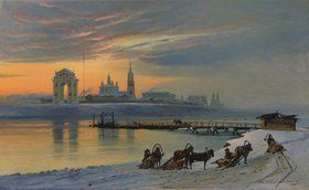 Nikolay Fjodorow Dobrovolsky: Winter in Irkutsk an der Angara