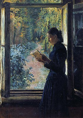 Nikolai Gay: Natalia Petrunkewitsch lesend am Fenster