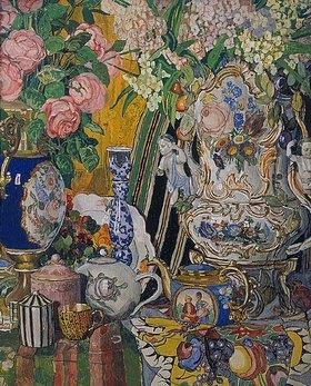 Alexander Jakowlev Golowin: Stillleben mit Porzellan-Gefässen und Blumen