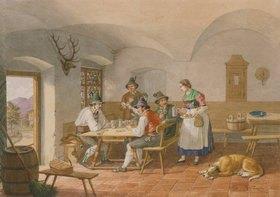 Lorenzo Quaglio d.J.: Kartenspielende Bauern