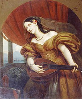 Orest Kiprenski: Bildnis der Fürstin M.A. Polozki mit Gitarre