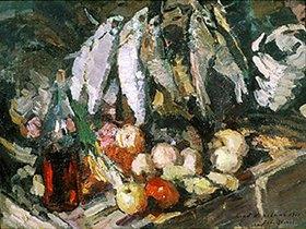 Alexejew. Konstantin Korovin: Fisch, Wein und Früchte