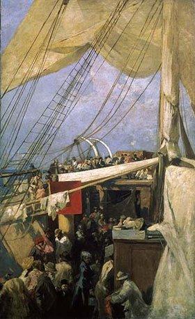 Alexejew. Konstantin Korovin: An Deck eines Segelschiffes. 1880-er Jahre