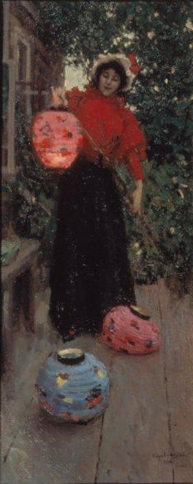 Alexejew. Konstantin Korovin: Frau mit Lampions
