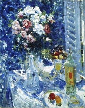 Alexejew. Konstantin Korovin: Blumen und Früchte auf dem Gartentisch