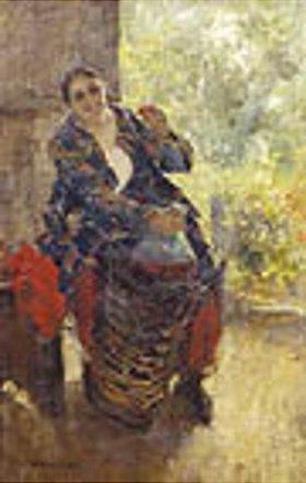 Alexejew. Konstantin Korovin: Die Herrin (Frau mit Korbflasche)