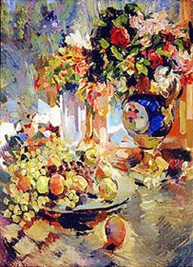 Alexejew. Konstantin Korovin: Stillleben mit Früchten und blauer Vase