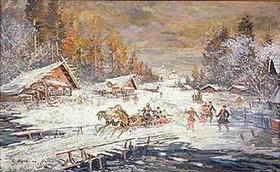 Alexejew. Konstantin Korovin: Schlittenfahrt durch russische Winterlandschaft. 20. Jahrhundert