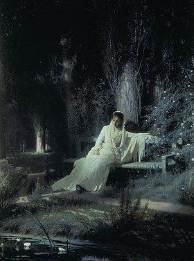 Iwan Kramskoi: Mondnacht (Träumende Frau). 1880