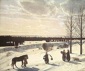 Nikifor Stepanow Kryloff: Winterszene mit Wasser holenden Frauen