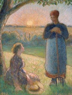 Camille Pissarro: Bäuerinnen bei Sonnenuntergang (Eragny)