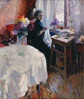 Nikolaj Kusnezow: Handarbeitende Frau am Fenster