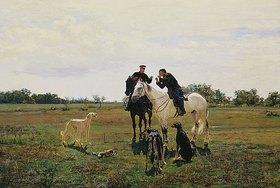 Nikolaj Kusnezow: Freizeit. Zwei Reiter und Hunde