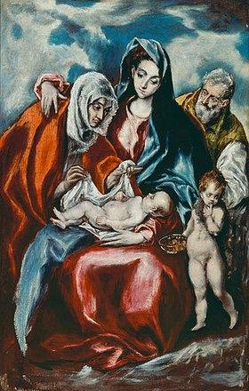 Greco El (Dom.Theotokopoulos): Die hl.Familie mit der hl. Anna und dem jungen Johannes dem Täufer