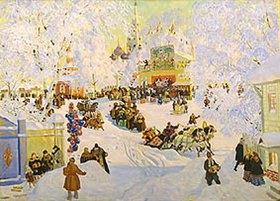 Boris Michailowitsch Kustodiev: Faschingstreiben im Schnee