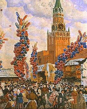 Boris Michailowitsch Kustodiev: Ostermarkt im Moskauer Kreml