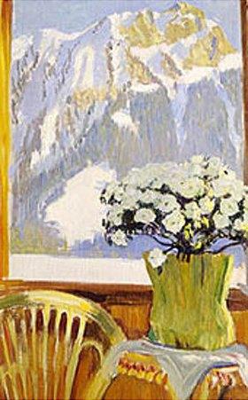 Boris Michailowitsch Kustodiev: Blumentopf auf einem Balkon vor Gebirgskulisse