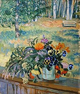 Boris Michailowitsch Kustodiev: Blumenstrauss auf der Balustrade