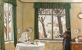 Boris Michailowitsch Kustodiev: Im Wohnraum. Blick aus dem Fenster auf winterliche Landschaft