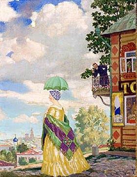 Boris Michailowitsch Kustodiev: Dame mit Sonnenschirm beim Spaziergang (In der Provinz)
