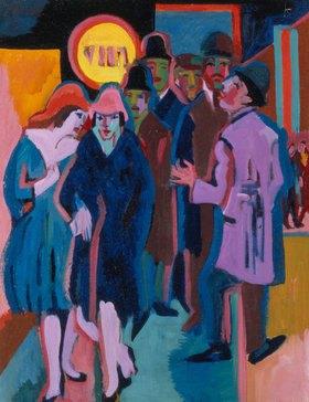 Ernst Ludwig Kirchner: Nächtliches Strassenbild (Recto)