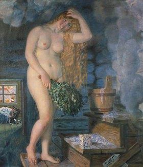 Boris Michailowitsch Kustodiev: Russische Venus (Frau in der Sauna)