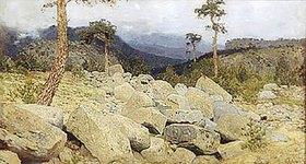 Isaak Iljitsch Lewitan: Felsenlandschaft in den Bergen der Krim