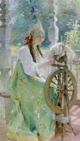 Konstantin Jegor Makovskij: Junge russische Frau am Spinnrad