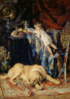 Konstantin Jegor Makovskij: Im Studio des Künstlers (Kind an Obstschale und Hund)